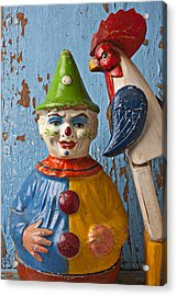 Old Clown And Roster Acrylic Print by Garry Gay