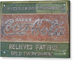Acrylic Print featuring the photograph Old Coca Cola Painted Brick Wall by Doris Blessington