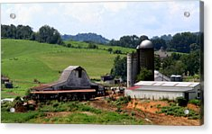 Old Dairy Barn Acrylic Print by Karen Wiles