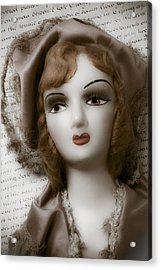 Old Doll On Old Letter Acrylic Print by Garry Gay