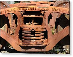 Old Double Truss Train Wheel . 7d12855 Acrylic Print by Wingsdomain Art and Photography