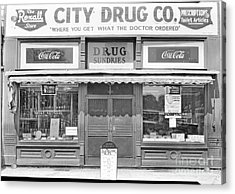 Old Drug Store Circa 1930 Acrylic Print by Cris Hayes