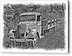 Old Ford Flatbed Bw Acrylic Print