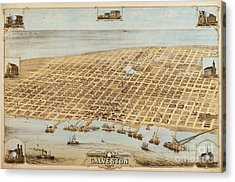 Old Galveston Map Acrylic Print by Pg Reproductions