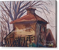 Acrylic Print featuring the painting Old Garage by Rod Ismay