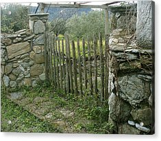 Old Gate On A Greek Island Acrylic Print by Vasilis-Alekos Korallis