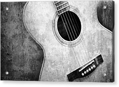 Old Guitar Black And White Acrylic Print by Nattapon Wongwean