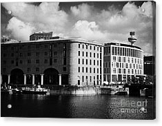 Old Historic Warehouse And The New Hilton Hotel At The Albert Dock Liverpool Merseyside England Uk Acrylic Print by Joe Fox