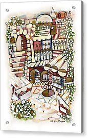 Old Jerusalem Courtyard Modern Artwork In Red White Green And Blue With Rooftops Fences Flowers Acrylic Print by Rachel Hershkovitz