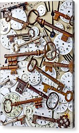 Old Keys And Watch Dails Acrylic Print by Garry Gay
