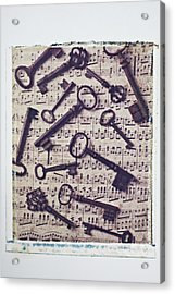 Old Keys On Sheet Music Acrylic Print by Garry Gay