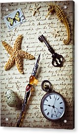 Old Letter With Pen And Starfish Acrylic Print by Garry Gay