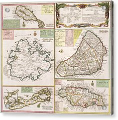 Old Map Of English Colonies In The Caribbean Acrylic Print by German School