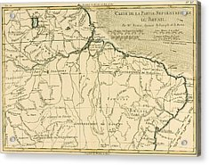 Old Map Of Northern Brazil Acrylic Print by Guillaume Raynal