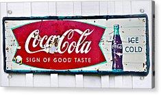 Old Metal Coke Sign Acrylic Print by Susan Leggett