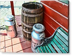 Old Milk Cans And Rain Barrel. Acrylic Print by Paul Ward