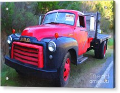 Old Nostalgic American Gmc Flatbed Truck . 7d9821 . Photo Art Acrylic Print by Wingsdomain Art and Photography