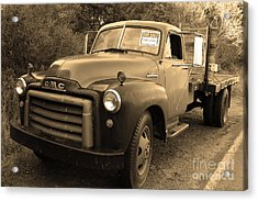 Old Nostalgic American Gmc Flatbed Truck . 7d9821 . Sepia Acrylic Print by Wingsdomain Art and Photography