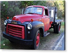Old Nostalgic American Gmc Flatbed Truck . 7d9821 Acrylic Print by Wingsdomain Art and Photography
