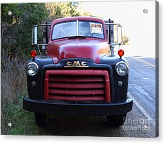 Old Nostalgic American Gmc Flatbed Truck . 7d9823 Acrylic Print by Wingsdomain Art and Photography
