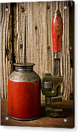 Old Oil Can And Wrench Acrylic Print by Garry Gay