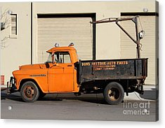 Old Orange American Chevy Chevrolet 3600 Truck . 7d12735 Acrylic Print by Wingsdomain Art and Photography