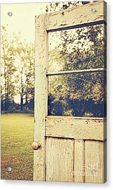 Old Peeling Door With Landscape Acrylic Print by Sandra Cunningham