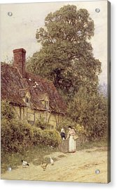Old Post Office Brook Near Witley Surrey Acrylic Print by Helen Allingham