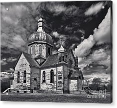 Old Prairie Church And Storm Front Acrylic Print by Royce Howland