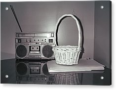 Old Radio And Easter Basket Acrylic Print by Floyd Smith