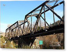 Old Railroad Bridge At Union City Limits Near Historic Niles District In California . 7d10736 Acrylic Print by Wingsdomain Art and Photography