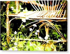 Old Rattan Chair Acrylic Print by Bonnie Bruno