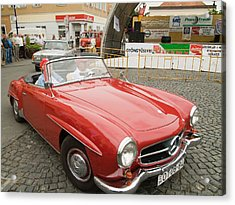 Old Red Mercedes-benz Acrylic Print by Odon Czintos