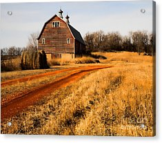Old Red Road And Barn Acrylic Print