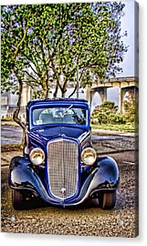 Old Roadster - Blue Acrylic Print by Carol Leigh