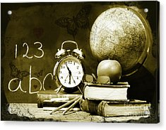 Old School Books  Acrylic Print by Sandra Cunningham