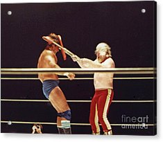 Old School Wrestling Chair Shot To The Head On Don Muraco By Moondog Mayne Acrylic Print by Jim Fitzpatrick