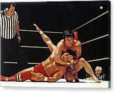 Acrylic Print featuring the photograph Old School Wrestling Headlock By Dean Ho On Don Muraco by Jim Fitzpatrick