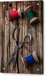 Old Scissors And Spools Of Thread Acrylic Print