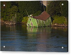 Old Shack Sinking  Acrylic Print by Roger Lewis