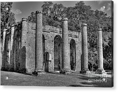 Old Sheldon Church 3 Black And White Acrylic Print