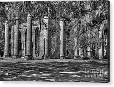 Old Sheldon Church Black And White Acrylic Print