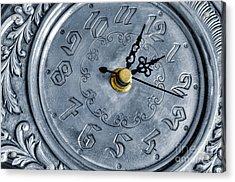Old Silver Clock Acrylic Print by Carlos Caetano