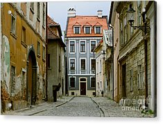 Acrylic Print featuring the photograph Old Street In Bratislava by Les Palenik