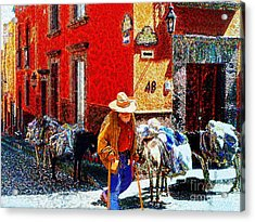 Old Timer With His Burros On Umaran Street Acrylic Print
