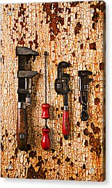 Old Tools On Rusty Counter  Acrylic Print by Garry Gay