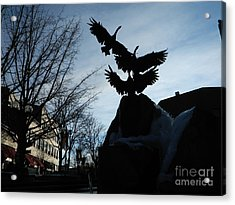 Old Town Silhouette  Acrylic Print by Sara  Mayer