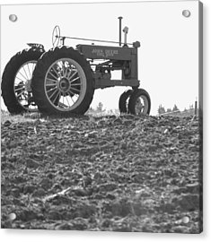 Old Tractor II In Black-and-white Acrylic Print
