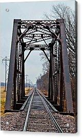 Old Train Trelllis Acrylic Print by Brenda Becker