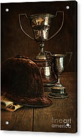 Old Trophies With Equestrian Riding Hat Acrylic Print by Sandra Cunningham